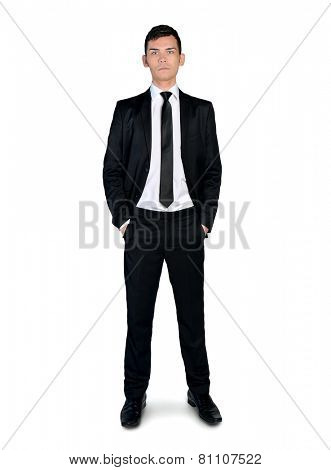 Isolated busines man looking to camera