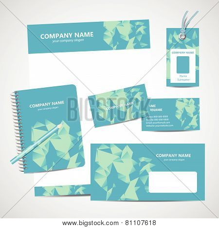 Corporate identity business set design with triangles pattern