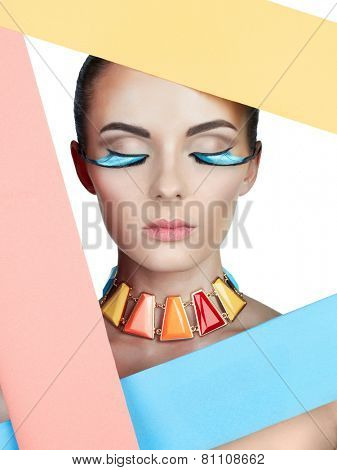 Fashion colorful photo of beautiful woman with bright makeup