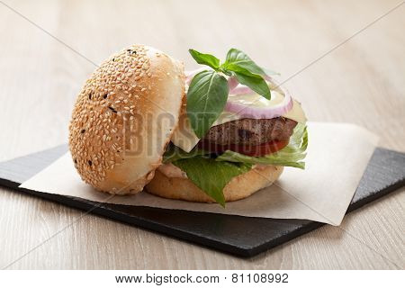 Healthy Wheat Sandwich Hamburger With Beef Steak Served For Launch