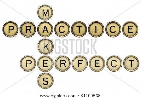 practice makes perfect crossword in old round typewriter keys isolated on white