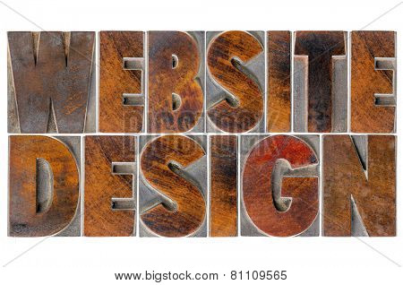 website design - isolated text in antique wood letterpress printing blocks with ink patina