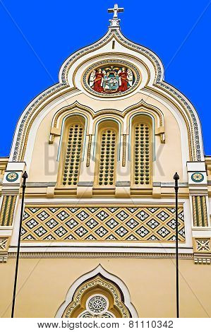 Architectural Details At One Historic Serbian Church Facade. Timisoara, Romania