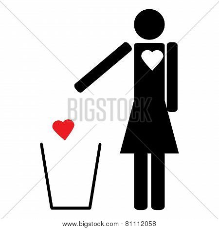 Woman Throws The Trash To Your Heart
