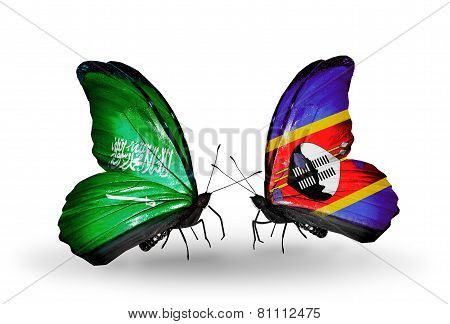 Two Butterflies With Flags On Wings As Symbol Of Relations Saudi Arabia And Swaziland