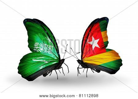 Two Butterflies With Flags On Wings As Symbol Of Relations Saudi Arabia And Togo