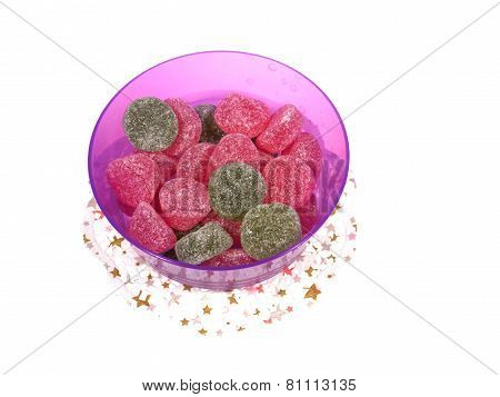 Sugar candies in a bowl