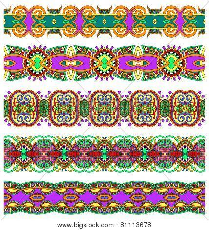 ethnic floral paisley stripe pattern, border set