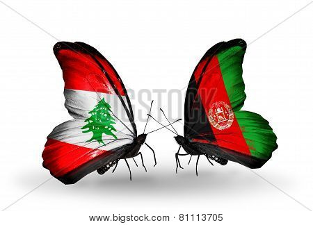 Two Butterflies With Flags On Wings As Symbol Of Relations Lebanon And Afghanistan