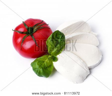 Mozzarella on a white background