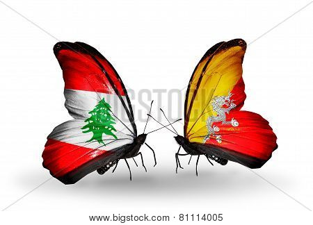 Two Butterflies With Flags On Wings As Symbol Of Relations Lebanon And Bhutan