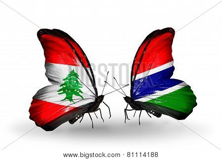 Two Butterflies With Flags On Wings As Symbol Of Relations Lebanon And Gambia