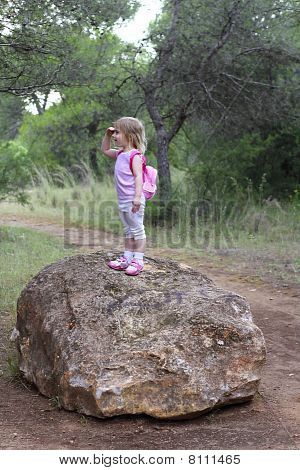 Explorer Little Girl Forest Park Searching