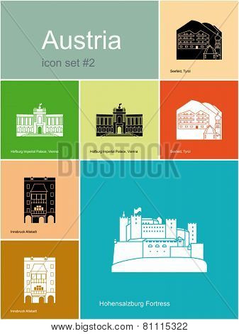 Landmarks of Austria. Set of color icons in Metro style. Raster illustration.