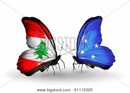Two Butterflies With Flags On Wings As Symbol Of Relations Lebanon And Micronesia