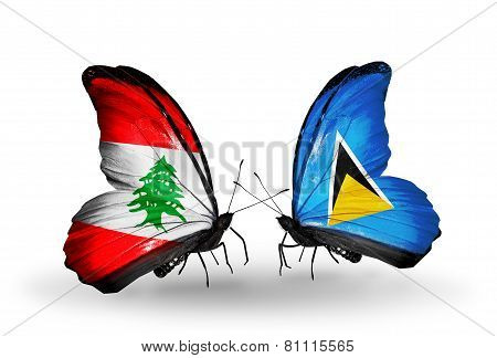 Two Butterflies With Flags On Wings As Symbol Of Relations Lebanon And Saint Lucia