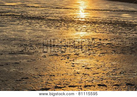 Mudflat Landscape At Sunset