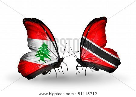 Two Butterflies With Flags On Wings As Symbol Of Relations Lebanon And Trinidad And Tobago