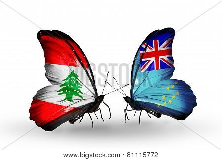 Two Butterflies With Flags On Wings As Symbol Of Relations Lebanon And Tuvalu