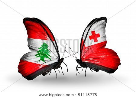 Two Butterflies With Flags On Wings As Symbol Of Relations Lebanon And Tonga