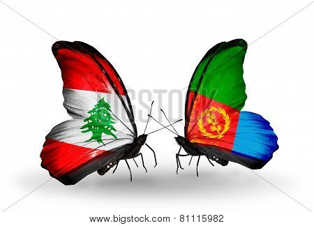 Two Butterflies With Flags On Wings As Symbol Of Relations Lebanon And Eritrea