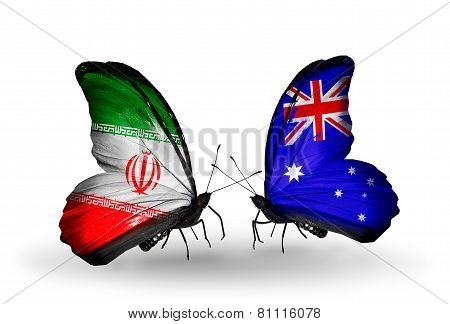 Two Butterflies With Flags On Wings As Symbol Of Relations Iran And Australia