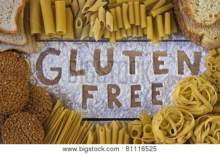 gluten free word with wood background