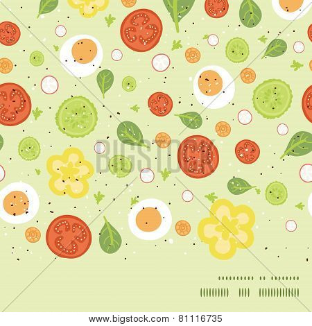 Vector fresh salad horizontal frame seamless pattern background
