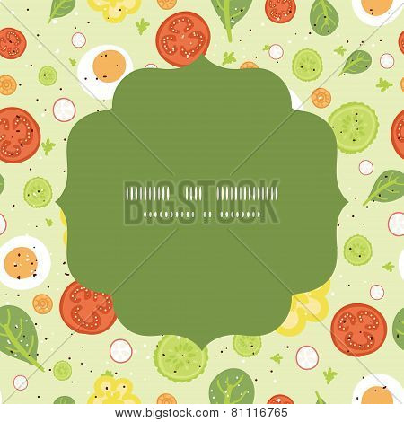Vector fresh salad circle frame seamless pattern background
