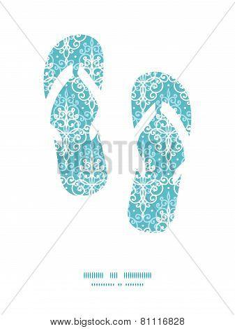Vector light blue swirls damask flip flops silhouettes pattern frame