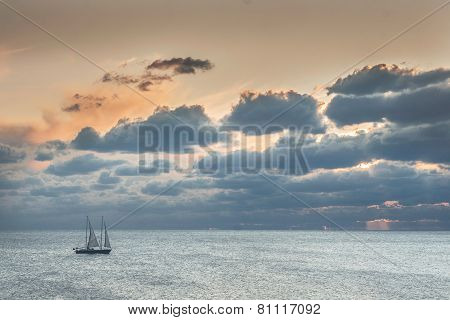 Ship in calm sea