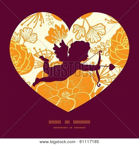 Vector golden art flowers shooting cupid silhouette frame pattern invitation greeting card template