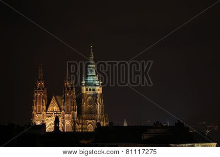 Saint Vitus Cathedral in Prague, Czech Republic, at night.