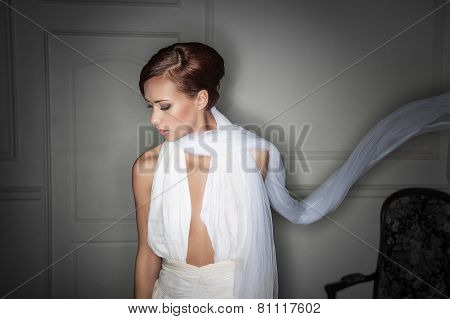 romantic young girl in a  light  veil