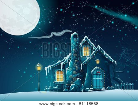 Illustration of a winter night with a fabulous home in the moonlight