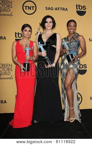 LOS ANGELES - JAN 25:  Diane Guerrero, Julie Lake, Vicky Jeudy at the 2015 Screen Actor Guild Awards at the Shrine Auditorium on January 25, 2015 in Los Angeles, CA