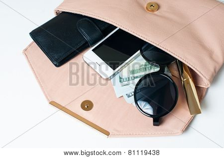 Open Beige Woman's Clutch