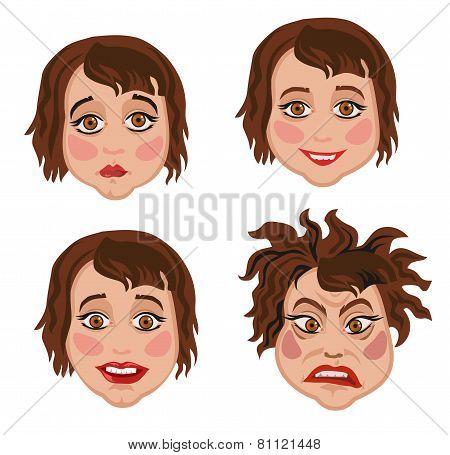Set Of Four Facial Expressions Women