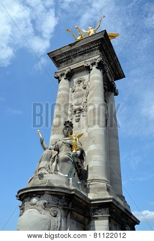 A Counter Weight Tower On Pont Alexandre Iii Bridge In Paris France.
