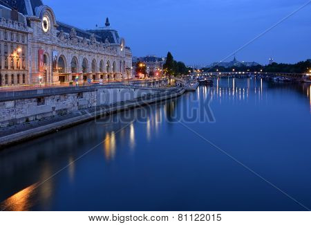 The Hour Before Dawn On The Seine River, Paris France.