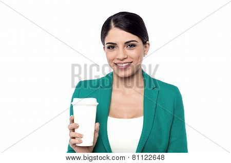 Happy Woman Holding a Cup