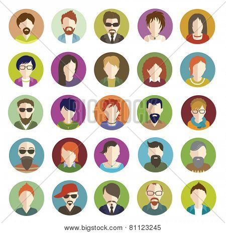 Set of People Flat icons. Vector women and men character.