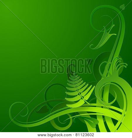 Green cut paper herbal background