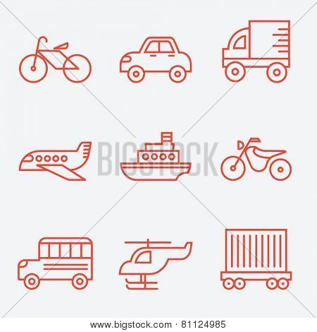 Transport icons, thin line style, flat design
