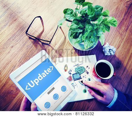 Digital Online Update Upgrade Office Working Concept