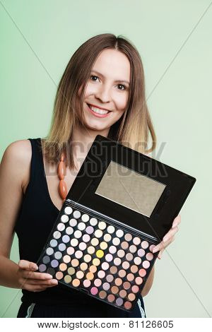 Woman Holds Makeup Professional Colorful Palette