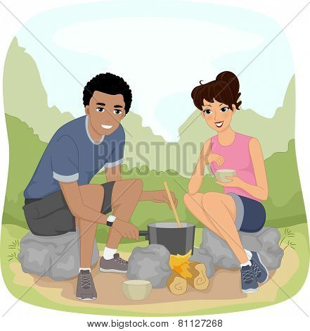 Illustration of a Couple Preparing Food While Out on a Hike
