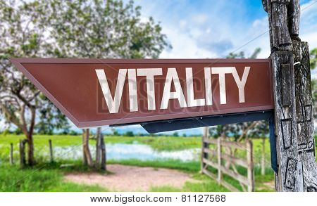 Vitality wooden sign with rural background