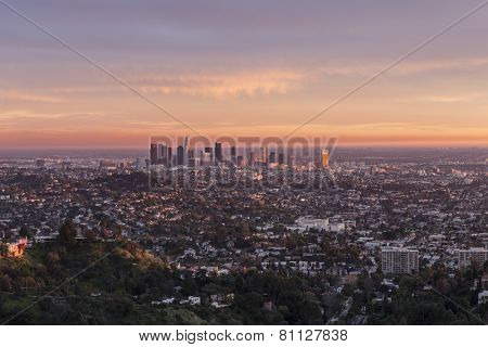 Last rays of afternoon light illuminating downtown Los Angeles, California.