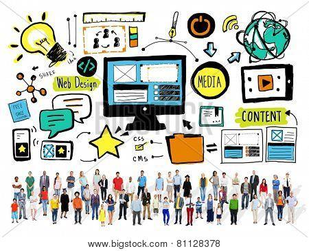 Diversity Casual People Web Design Content Teamwork Concept